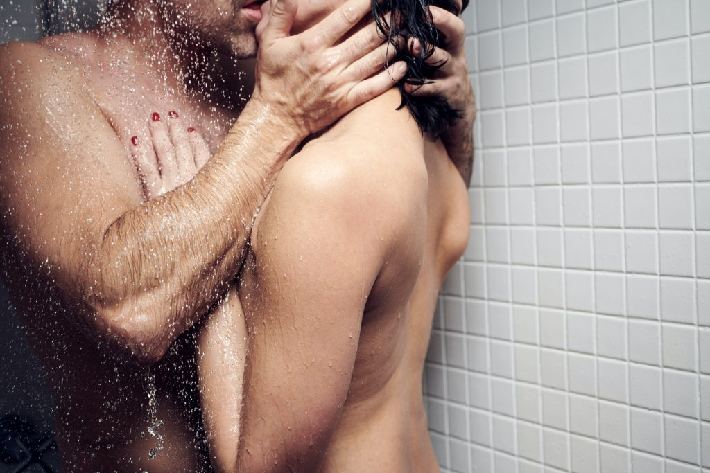 man and woman in bathtub